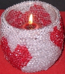 Detail of beaded heart candleholder